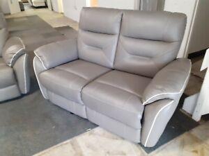 Rafa grey leather static 2 seater sofa. Ex Scs stock
