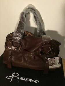 B. Makowsky Glove Leather East/West Zip Top Satchel in Brandy - New with Tags!