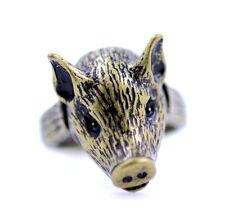 vintage antique style bronze coloured pig piglet charm ring, UK size N