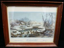 """Frances F. Palmer """"American Winter Scenes - Morning"""" Lithograph Currier & Ives"""