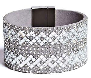NWT GUESS BRACELET Silver, Grey Faux Leather & Rhinestones Cuff GENUINE