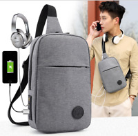 Waterproof Nylon Men Chest Pack USB Charging Small Male Shoulder Sling Fanny Bag