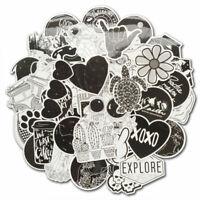 50 Vinyl Black White Vsco Sticker Bomb Skateboard Luggage Laptop Decals Pack Lot