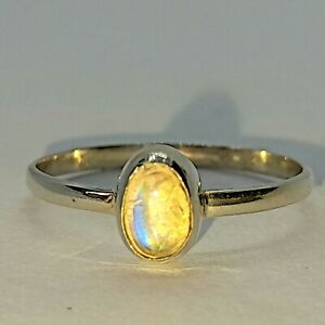 Brand New Sterling Silver 925 Labradorite (Pear) Ring, Size L 1/2