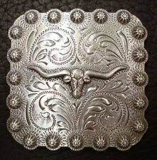 WESTERN HORSE TACK ANTIQUE LONGHORN STEER BERRY SQUARE CONCHO 1 INCH screw back