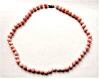 """Vintage Solid 14K White Gold 6mm Angel Skin Coral Bead Hand-knotted Necklace 17"""""""
