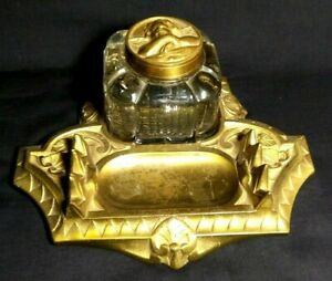 Antique Bronze and Glass Ink Well & Pen Holder