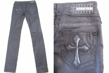 AFFLICTION ~ Raquel ~Black Leather-Look Coated Skinny Jeans Size 24 x 31