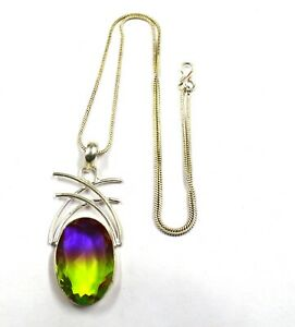 Multi Color Ametrine  73.35 Ct Certified 925 Sterling Silver Pendant With Chain