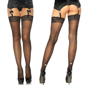 Leg Avenue Sheer Lace Top Thigh High Stockings With Rhinestones Backseam & Bow