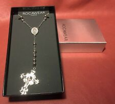 """ROCAWEAR 26"""" Stainless Steel Rosary 2"""" Crucifix Necklace New in Box"""