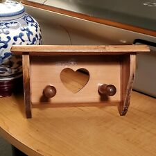 Small Decorative Wooden Country Wall Shelf Heart Cut Out 2 Key Hooks