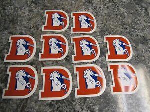 "Lot of 10 Denver Broncos D Old School Super Orange Helmet Decal Stickers  3 1/2"""