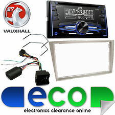 Vauxhall Astra H JVC Double Din CD MP3 USB Car Stereo Chrome Silver Fascia Kit