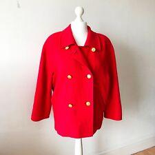 M&S Ladies Red Wool Ladies Coat 14 16 Gold Buttons Raglan Sleeve St.Michael 90s
