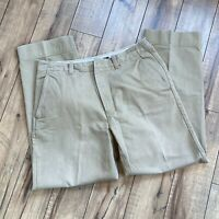 J. Crew Men's Heavy tan Khaki Pants Size 35 x 31 Straight Fit - MISSING BUTTON