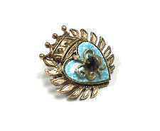 Vtg ALICE CAVINESS Blue Enamel Heart Crown Royalty Rhinestone Brooch Pin ee178b