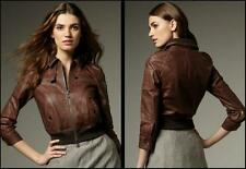 Bird By JuicyCouture Riley Flight Vintage Leather Bomber Jacket Brown M MSRP$998