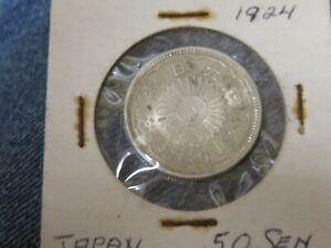 Year 13 (1924) Japan 50 Sen Silver Coin  LOOKS UNC.