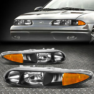 FOR 99-04 OLDSMOBILE ALERO PAIR BLACK HOUSING AMBER CORNER HEADLIGHT HEAD LAMPS