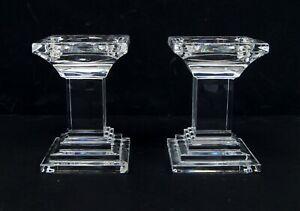 "Pair of Waterford Crystal METROPOLITAN 5.5"" Pillar Candle Holder C2756"