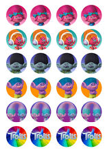 24 assorted Trolls 4cm round cupcake cake edible images toppers
