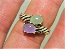 New !!! Sterling Silver Bypass Ring w Green & Purple Jadeite, sz 10