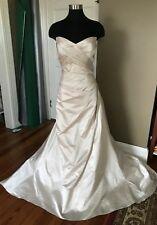 Maggie Sottero Satin Wedding Dress Gown Alabaster Sz. 14