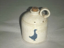 "SIGNED RABOLI 4"" WINE JUG DOUBLE BAND BREATHER HOLE CIRCLE HANDLE COBALT GOOSE"