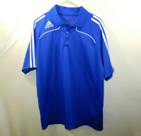 ADIDAS Climalite Short Sleeve Polo Golf Blue Shirt Mens Size LARGE L