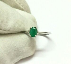 Sterling Silver Emerald Ring 4x6 mm oval emerald Dainty ring silver dainty ring