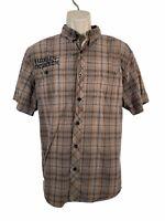 Harley Davidson Short Sleeve Shirt Button Down Brown Plaid Check Embroidered XL