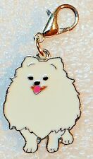 White Pomeranian Dog Pup Bag Purse Charm Dangle Zipper Pull Jewelry