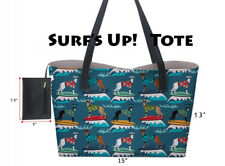 Surf's Up! Greyhound or Whippet Dog Tote Bag