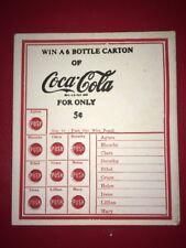 1 Unused Coca Cola Coke WIN A SIX PACK push Punch Board Stimulator Gambling Slot