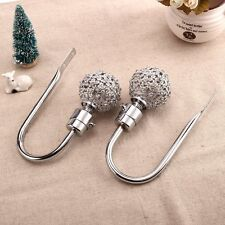 2 x CH16 - 50mm Silver Elegant Glass Crystal Curtain Hold Back, Hook Wall Tie