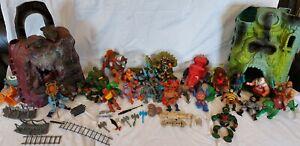 Vintage Huge 1980s He Man Toy Figures Bundle Battlecat Swords Skeletor 2 Castles