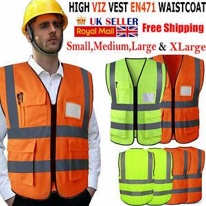 Yellow Hi Vis Vest High Viz Visibility Waistcoat Safety Work Reflective Orange