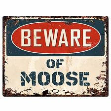 PP1327 Beware of MOOSE Plate Rustic Chic Sign Home Room Store Decor Gift