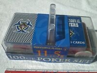 Poker Chip 11.5G 100CT Set includes 2 decks cards carrying case NEW