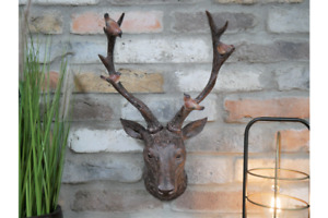 Stag Head With Birds Wall Mounted Ornament Stags Antlers Reindeer Home Sculpture
