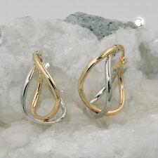 375 Gold Ohrringe Creolen bicolor durchlegiert, 9Kt  Goldohrringe Goldcreolen