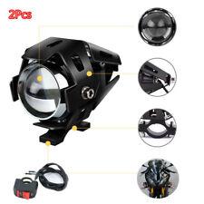 3 Modes 2PCS Motorcycle Armor LED Headlights White High Beam Lamp DRL Head Light