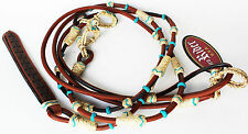 Horse Hand Braided Natural Rawhide Leather Rommel Romel Romal Reins 6632