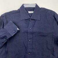 NeroSfumato Positano Button Up Shirt Men's XL Long Sleeve Navy Casual 100% Linen