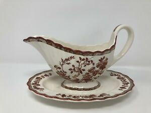Spode 'Indian Tree' 2/959 Gravy Boat and Underplate - 1st Quality