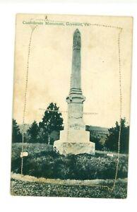 Rare Confederate Monument Groveton, Virginia pm 1908
