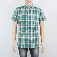 Next Mens Size M Green Check Short Sleeve Shirt