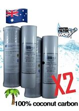UNDERSINK TWIN WATER FILTER REPLACEMENT PACK 2 X PAIR 100% COCONUT CARBON ✅✅✅✅✅✅