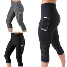 Women 3/4 Capri Yoga Pants Gym Fitness Sports Cropped Leggings With Pocket Slim